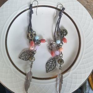 NEW Boho Hippie Feather Beaded Dangle Earrings